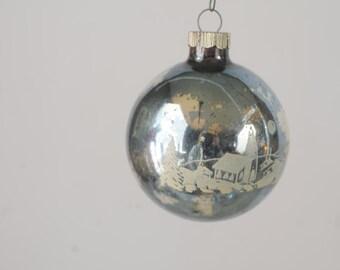 Vintage Christmas Ornament  Glass Round Shiny Brite Christmas Ornament 380