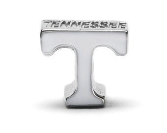 """Tennessee Vols White """"T"""" Bead Charm For Bracelet or Necklace - Fits Pandora"""