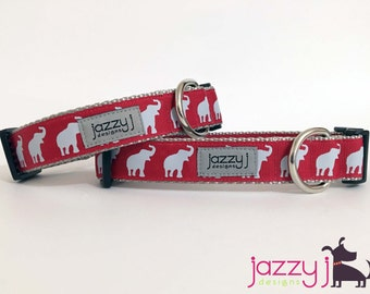 JAZZY J EXCLUSIVE Alabama Elephant Roll Tide Dog Collar