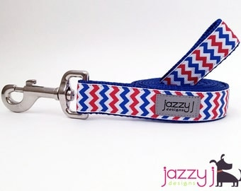 Red, White, and Royal Blue Chevron Patriotic Dog Lead