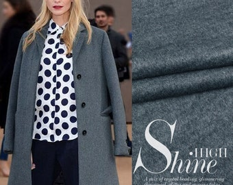 Classical Grey blue (85% silk & 15 wool) fabric Fall 2016 - for Winter/Autumn/spring dresses/skirts/jackets  - 1 yard