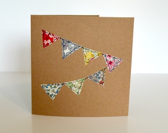 Embroidered greetings card, blank greetings card, celebration card, stitched fabric bunting, applique bunting, fabric bunting card