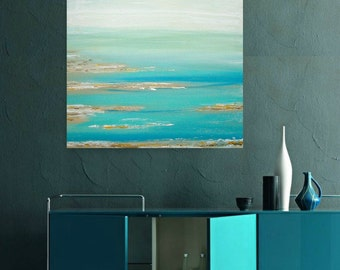 Art, Large Painting, Original Abstract, Acrylic Paintings on Canvas by Ora Birenbaum Titled: Cool Blues 30x40x1.5""