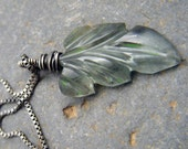 Moss Aquamarine Leaf and Sterling Silver Necklace - Box Chain - Spring Awakening