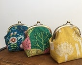 Coin Purse, metal frame coin purse, Change Pouch, Flower, Fox, and Tree Print
