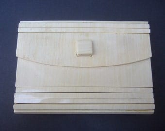 Sleek Ivory Lucite Clutch Bag c 1970s