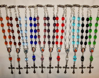 Car Auto Rear View Mirror rosary, 6x8mm oval bead Rosary Bracelet, 11 colors to chose from