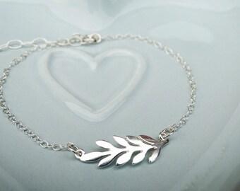 Delicate Sterling Silver Leaf Bracelet