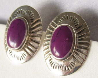 SALE Sterling Silver Taxco Earrings from Mexico c.1970-1980. Large Southwest Engraved Borders, Purple Stone Cabs.