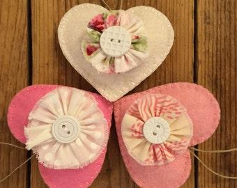 Shabby Chic Felt Heart Ornaments -set of 3