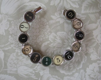 Vintage Typewriter Key Bracelet --NUMBERS