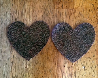 Dark Brown Vinyl Heart Patches with Speckled Pattern