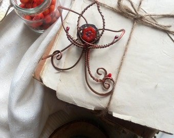 Red Copper Shawl Pin Scarf or Sweater Pin  Copper Wire Wrap Floral Copper pin, red shawl pin, flower wire pin