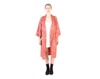 80s Avant Garde Metallic Flame Print Boxy / Structured Long Kimono / Duster / Jacket / Robe - Free Size