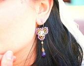 Amethyst Wedding Drop Earrings - Vintage Inspired Dangle Earrings - Handcrafted Lace Bridal Jewelry Bridal earrings , Couture jewelry