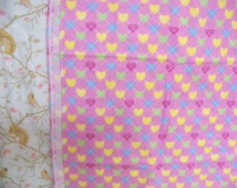 Colorful Hearts Flannel Fabric,1 Yard