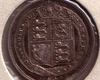 Six Pence 1887 Jubilee Kraus 759