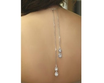 Double Backdrop Lariat, Bridal Necklace, Long Back Chain , Leaves Necklace, Drop necklace, Cubic Zircon Necklace, Vintage Jewelry ,