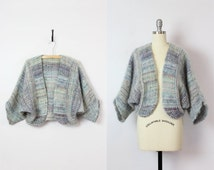 SALE / vintage 70s batwing cocoon cardigan / knit mohair wool jacket / draped cropped sweater / kimono cardigan / blue mohair shrug