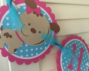 Puppy Birthday Banner/ Pink/ Turquoise Polka Dot/ Puppy Garland/Customized Puppy Banner/ Happy Birthday Banner/ Girl's Banner