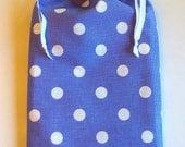 Periwinkle Polka Dot Gift Bag, reusable drawstring bag for gift giving - American Made