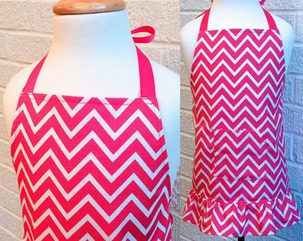 Toddler Pink Chevron Apron with Pocket and Ruffle - Can be Personalized, Hot Pink and White, Free Shipping, Made in The USA, Gift Package