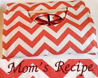 Coral Chevron 9x13 Dish Tote - FREE Shipping, Can be Personalized, ZigZag Stripe, Burgundy Merlot Monogram