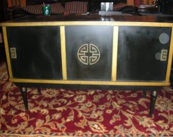 1950'S  Oriental Credenza Or Record Cabinet