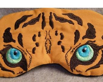 Embroidered Eye Mask for Sleeping, Cute Sleep Mask, Cat Mask, Tiger, Sleep Blindfold, Eye Shade, Tiger Slumber Mask, Tiger Design, Handmade
