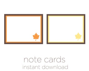 Thanksgiving Note Cards - Printable Note Cards -Instant Download - 2 Styles