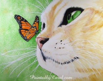 Cat Watercolor Print - Yellow Tabby Cat and Monarch Butterfly Watercolor Painting Art Print, Wall Decor, Home Decor