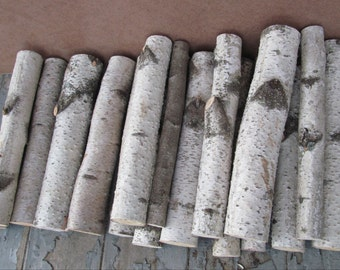 Decorative white birch logs Adirondack fireplace white birch cabin decor Large flat rate box