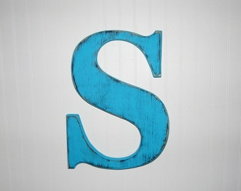 Large Wooden Letter S Or Any Letter Distressed 18 Inch Wood Letters Choose Letter & Color