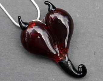 Devil Heart Necklace, Flamework Glass Jewelry, Devilish Lampwork Hand Blown Boro Pendant SRA, Handmade Red Black