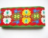 German Vintage Woven Rustic Folk Art Retro Cotton Flower Trim in Bright Colours- Restpiece sewing supply