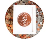 LUCKY PENNY 2016 - Copper Foil Print -Fun New Years Eve Decor