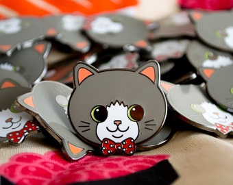 Bowtie Kitty Hard Enamel Pin / Lapel Pin / Jewelry / Badge