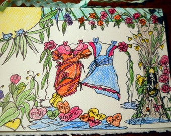 Dresses on The Line, Clothesline Card, Hand Drawn Pen and Ink Greeting Wall Art Gift Card, Color Pencil, FromGlenToGlen, Kathleen Leasure