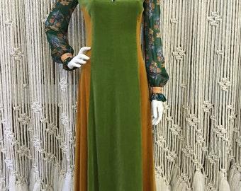 Fabulous late 1960's velvet patchwork floral sleeved festival dress