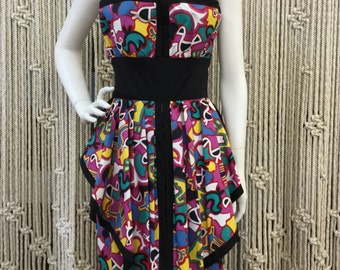 Amazing 1980's designer Victor Costa structured architectural printed strapless party dress