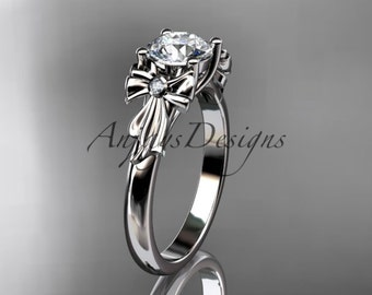 """14kt white gold diamond unique engagement ring, wedding ring with a """"Forever One"""" Moissanite center stone ADER154"""