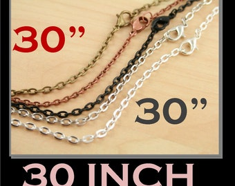 Pick your Qty -  Chains -30 inch Vintage Style w lobster clasps -Oval Links. Silver, Antique Silver, No Tarnish Black, Antq. Copper, Bronze