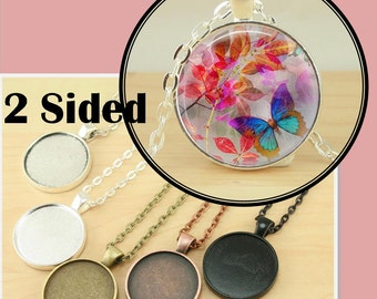 25 Double Sided PENDANT Style STURDY Alloy Pendants -25mm Bezel Tray. Optional 50 Domed Glass, Seals 50 or 100 count. Ships from USA