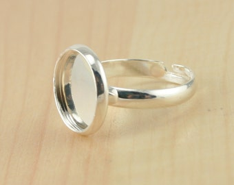 12ct, Small Size Ring Setting - Blank, 12mm Bezel - perfect fit with small glass domes, Great for women with small fingers.