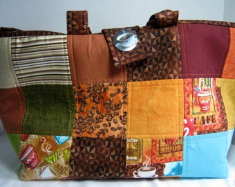 Quilted Coffee Fabric Yarn Organizer Knitting Crochet Craft Tote