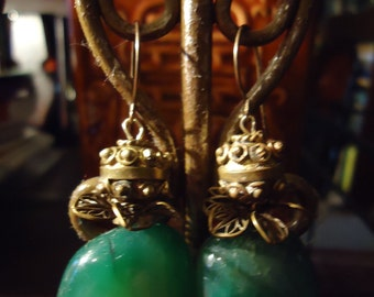 Boho One of A Kind Green Emerald Drops with Ornate Artisan Flower