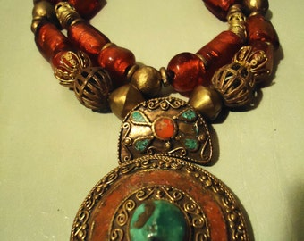 Boho Handcrafted One Of A Kind Ice Fire In Red Bold Two Strand Necklace With Turquoise Coral & Brass Pendant