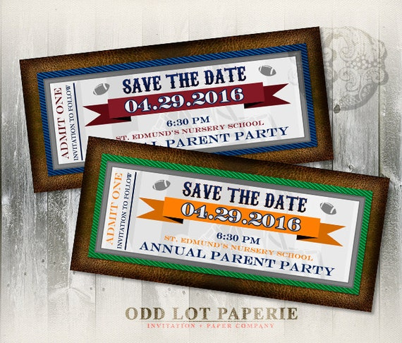 Football Save The Date Invitation, Super Bowl Ticket, Super Bowl Party Ticket, Sports Invitation