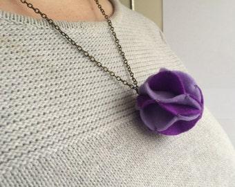 Purple & Lilac - Small Felt Pom Pom Statement Necklace