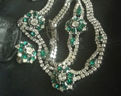Green and White Rhinestone Set of Jewelry Bracelet Earrings and Necklace Simply Stunning white gold appeal holiday wear accessories